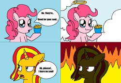 Size: 1305x897 | Tagged: safe, artist:logan jones, angel wings, pinkie pie, sunset shimmer, pony, equestria girls, equestria girls series, sunset's backstage pass!, spoiler:eqg series (season 2), churros, comic, equestria girls ponified, fire, food, french fries, halo, heaven, hell, just one bite, ponified, soulless, spongebob squarepants