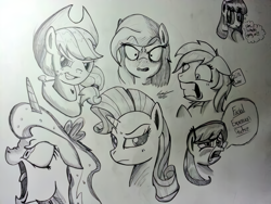 Size: 816x612 | Tagged: safe, artist:lucas_gaxiola, applejack, princess luna, rarity, alicorn, earth pony, pony, unicorn, angry, bust, expressions, grayscale, grin, hat, monochrome, smiling, smirk, traditional art, yoke