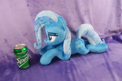 Size: 5472x3648   Tagged: safe, artist:kazzysart, trixie, pony, unicorn, female, irl, lidded eyes, mare, photo, plushie, prone, soda can, solo, sprite (drink)