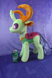 Size: 5472x3648 | Tagged: safe, artist:kazzysart, thorax, changedling, changeling, irl, king thorax, male, photo, plushie, soda can, solo, sprite (drink)