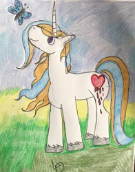 Size: 1024x1308 | Tagged: safe, artist:lycandemon666, oc, oc only, butterfly, unicorn, offspring, parent:prince blueblood, parent:trixie, parents:bluetrix, solo, traditional art