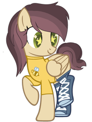 Size: 1529x2025 | Tagged: safe, artist:celestial-rue0w0, artist:pegasski, oc, oc only, oc:marigold bloom, bee, insect, pegasus, pony, base used, boots, clothes, commission, female, mare, raised hoof, raised leg, shirt, shoes, simple background, solo, starry eyes, t-shirt, transparent background, wingding eyes