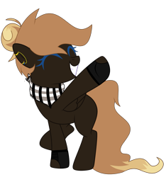 Size: 2961x3169 | Tagged: safe, artist:celestial-rue0w0, artist:lazuli, oc, oc only, oc:thunder rhymes, pegasus, pony, bandana, base used, blank flank, clothes, commission, ear piercing, earring, female, fingerless gloves, gloves, grin, jewelry, mare, piercing, raised hoof, raised leg, simple background, smiling, solo, transparent background