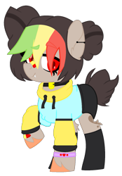 Size: 1061x1525 | Tagged: safe, artist:caramelushy, artist:celestial-rue0w0, oc, oc only, oc:dracy (ice1517), earth pony, pony, bandaid, base used, clothes, collar, commission, ear piercing, earring, female, hoodie, jewelry, mare, multicolored hair, piercing, raised hoof, shorts, simple background, socks, solo, transparent background, unshorn fetlocks