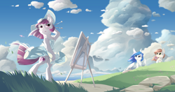 Size: 5300x2800 | Tagged: safe, artist:dreamweaverpony, oc, oc only, oc:lady diamante, oc:lumi, oc:shade, earth pony, pegasus, unicorn, absurd resolution, anime style, basket, beautiful, blue eyes, blue hair, blushing, bread, brush, canvas, clothes, cloud, detailed background, dress, earth, female, fluffy, food, glasses, grass, hat, mare, ocean, paintbrush, painting, picnic, picnic basket, red eyes, red hair, red mane, red tail, scar, scenery, skirt, skirt lift, summer, toast, wind, windswept hair, windswept mane, windswept tail