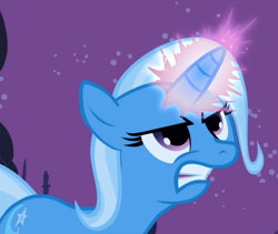 Size: 800x675 | Tagged: safe, screencap, trixie, boast busters, cropped, glowing horn, gritted teeth, horn, solo