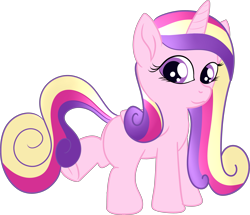 Size: 3987x3432 | Tagged: safe, alternate version, artist:poniidesu, princess cadance, alicorn, pony, blank flank, cute, female, filly, frog (hoof), high res, looking at you, simple background, solo, transparent background, underhoof, younger