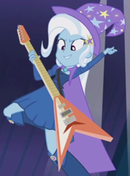 Size: 426x576 | Tagged: safe, screencap, trixie, equestria girls, rainbow rocks, cropped, guitar, musical instrument, solo