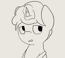 Size: 1202x1082 | Tagged: safe, artist:triplesevens, oc, pony, unicorn, cyoa, description is relevant, magic, male, monochrome, nil quest, simple background, solo, stallion, story included