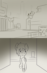 Size: 1500x2304 | Tagged: safe, artist:triplesevens, oc, pony, city, colt, cyberpunk, cyoa, description is relevant, destroyed building, ghetto, male, metro, monochrome, nil quest, silhouette, story included, tents, underground