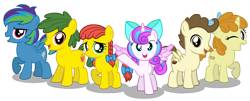 Size: 3000x1215 | Tagged: safe, artist:aleximusprime, pound cake, princess flurry heart, pumpkin cake, oc, oc:annie smith, oc:apple chip, oc:storm streak, flurry heart's story, alternate mane six, bow, colt, cute, female, filly, friends, kids, next gen mane six, next generation, pigtails, simple background, transparent background