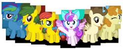 Size: 3000x1215 | Tagged: safe, artist:aleximusprime, pound cake, princess flurry heart, pumpkin cake, oc, oc:annie smith, oc:apple chip, alternate mane six, bow, colts, cute, female, filly, flurry heart's story, friends, kids, next gen mane six, next generation, pigtails, simple background