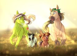 Size: 1336x978 | Tagged: safe, artist:blackblood-queen, oc, oc only, oc:honeydew mambo, oc:margarite mix, oc:samba volta, earth pony, pony, commission, female, field, filly, foal, male, mare, stallion, sunshine