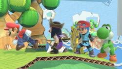 Size: 1280x720 | Tagged: safe, artist:miss-aaliyah-rosado, screencap, rainbow dash, twilight sparkle, alicorn, human, yoshi, equestria girls, barely eqg related, cap, clothes, crossover, hat, maridash, mario, mario's hat, mii, mii brawler, mii fighters, mii swordfighter, nintendo, nintendo switch, pirate, pirate hat, super mario bros., super smash bros., super smash bros. ultimate, sword, twilight sparkle (alicorn), weapon, yoshilight