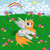 Size: 900x900 | Tagged: safe, alternate version, artist:anonymous, oc, oc only, oc:ginger peach, alicorn, pony, /mlp/, alicorn oc, cute, drawthread, flower, grass, ocbetes, rainbow, solo, sun