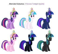 Size: 932x858 | Tagged: safe, artist:pika-robo, nightmare moon, princess cadance, princess celestia, princess luna, queen chrysalis, twilight sparkle, alicorn, pony, big crown thingy, element of magic, jewelry, recolor, regalia, simple background, solo, transparent background, twilight sparkle (alicorn)