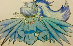 Size: 599x383 | Tagged: safe, artist:petanoprime, oc, oc only, oc:electric sketch, anthro, pegasus, chest fluff, collar, ear fluff, female, grin, signature, smiling, solo, spread wings, traditional art, wings