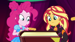 Size: 1920x1080 | Tagged: safe, screencap, pinkie pie, sunset shimmer, equestria girls, equestria girls series, sunset's backstage pass!, spoiler:eqg series (season 2)