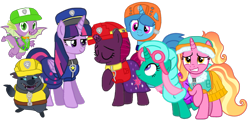 Size: 2145x1044 | Tagged: safe, artist:徐詩珮, fizzlepop berrytwist, glitter drops, grubber, luster dawn, spike, spring rain, tempest shadow, twilight sparkle, alicorn, dragon, unicorn, series:sprglitemplight diary, series:sprglitemplight life jacket days, series:springshadowdrops diary, series:springshadowdrops life jacket days, my little pony: the movie, spoiler:my little pony movie, alternate universe, base used, bisexual, broken horn, clothes, cute, equestria girls outfit, female, glitterbetes, glitterlight, glittershadow, horn, lesbian, lifeguard, lifeguard spring rain, paw patrol, polyamory, shipping, simple background, sprglitemplight, springbetes, springdrops, springlight, springshadow, springshadowdrops, swimsuit, tempestbetes, tempestlight, transparent background, twilight sparkle (alicorn), vector, winged spike
