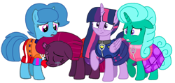 Size: 1418x676 | Tagged: safe, artist:徐詩珮, fizzlepop berrytwist, glitter drops, spring rain, tempest shadow, twilight sparkle, alicorn, unicorn, series:sprglitemplight diary, series:sprglitemplight life jacket days, series:springshadowdrops diary, series:springshadowdrops life jacket days, alternate universe, base used, bisexual, broken horn, clothes, crying, cute, equestria girls outfit, female, glitterbetes, glitterlight, glittershadow, horn, lesbian, lifeguard, lifeguard spring rain, paw patrol, polyamory, shipping, simple background, sprglitemplight, springbetes, springdrops, springlight, springshadow, springshadowdrops, swimsuit, tempestbetes, tempestlight, transparent background, twilight sparkle (alicorn), vector