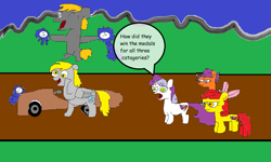 Size: 1107x663 | Tagged: safe, artist:coltfan97, apple bloom, crackle pop, derpy hooves, scootaloo, sweetie belle, the cart before the ponies, cart, deleted scene, ribbon
