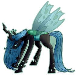 Size: 922x918 | Tagged: safe, artist:lilith1light, queen chrysalis, changeling, changeling queen, female, floppy ears, lidded eyes, simple background, solo, spread wings, white background, wings