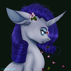 Size: 1000x1000 | Tagged: safe, artist:lilith1light, rarity, pony, unicorn, blood, curved horn, dark, ear fluff, female, floppy ears, flower, flower in hair, frown, green background, horn, lidded eyes, mare, petals, profile, simple background, solo