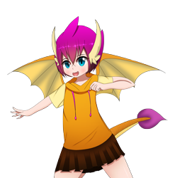 Size: 2361x2385 | Tagged: safe, artist:drakesparkle44, smolder, human, female, high res, horn, horned humanization, humanized, simple background, solo, tailed humanization, transparent background, winged humanization, wings