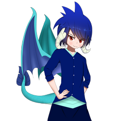 Size: 2361x2385 | Tagged: safe, artist:drakesparkle44, princess ember, human, female, hands on hip, high res, horn, horned humanization, humanized, simple background, solo, tailed humanization, transparent background, winged humanization, wings