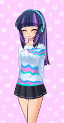 Size: 1382x2640 | Tagged: source needed, useless source url, safe, artist:racoonsan, princess celestia, twilight sparkle, human, anime, clothes, cute, eyes closed, hands behind back, headphones, humanized, shirt, skirt, smiling, solo, twiabetes