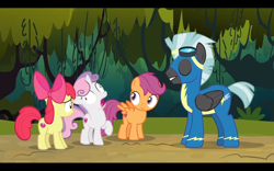 Size: 1440x900 | Tagged: safe, screencap, apple bloom, scootaloo, sweetie belle, thunderlane, earth pony, pegasus, pony, unicorn, marks and recreation, clothes, cutie mark crusaders, faic, uniform, wonderbolts uniform