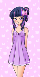 Size: 1382x2640 | Tagged: source needed, useless source url, safe, artist:racoonsan, twilight sparkle, human, anime, bedroom eyes, blushing, bow, cute, evening gown, hair bow, hands behind back, humanized, looking at you, open mouth, solo, twiabetes