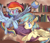 Size: 2251x1934 | Tagged: safe, artist:leafiness, rainbow dash, oc, oc:lemonade candy, pegasus, pony, book, bookshelf, canon x oc, female, globe, male, map, rainmonade, shipping, straight