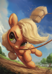 Size: 850x1200 | Tagged: safe, artist:assasinmonkey, applejack, earth pony, pony, cute, female, hay bale, jackabetes, mare, mouth hold, rope, solo