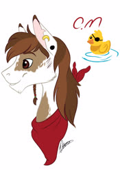 Size: 2049x2926 | Tagged: safe, artist:elenanava19, artist:eperyton, pipsqueak, pony, bust, cutie mark, ear piercing, earring, jewelry, male, neckerchief, older, older pipsqueak, piercing, profile, rubber duck, simple background, smiling, solo, stallion, white background