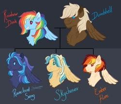 Size: 1024x881 | Tagged: safe, artist:azure-art-wave, dumbbell, rainbow dash, oc, oc:ember flare, oc:raincloud song, oc:skychaser, pegasus, pony, dumbdash, female, male, mare, offspring, parent:dumbbell, parent:rainbow dash, parents:dumbdash, shipping, stallion, straight