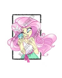 Size: 800x1000 | Tagged: safe, artist:katrina hadley, artist:lunchie, fluttershy, bird, equestria girls, big honkin' watermark in the middle of everything, obtrusive watermark, official fan art, solo, watermark
