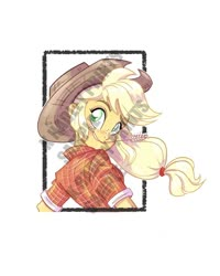 Size: 800x1000 | Tagged: safe, artist:katrina hadley, artist:lunchie, applejack, equestria girls, big honkin' watermark in the middle of everything, cowboy hat, hat, looking at you, looking back, looking back at you, obtrusive watermark, official fan art, solo, watermark