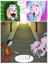 Size: 1280x1714 | Tagged: safe, artist:mixdaponies, silverstream, hippogriff, arthur fleck, batman logo, butt, comic, graffiti, happy, heart eyes, joker (2019), oh my celestia, open mouth, smiling, society, speech bubble, stairs, stairs are awesome, starry eyes, sunlight, that hippogriff sure does love stairs, the joker, why so serious?, wingding eyes