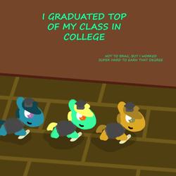 Size: 1000x1000 | Tagged: safe, artist:artdbait, oc, oc:goldy, series:goldy and hazard, amber eyes, diploma, graduation, graduation cap, green fur, hat, smiling, yellow mane