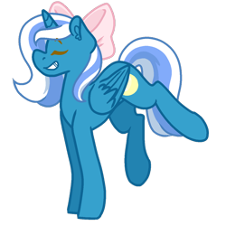 Size: 894x894 | Tagged: safe, artist:aster-iion, oc, oc:fleurbelle, alicorn, adorable face, alicorn oc, bow, cute, eyes closed, female, grin, hair bow, legs in air, mare, smiling, ych result