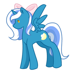 Size: 894x894 | Tagged: safe, artist:aster-lion, oc, oc:fleurbelle, alicorn, adorable face, alicorn oc, bow, cute, female, hair bow, mare, sweet, yellow eyes
