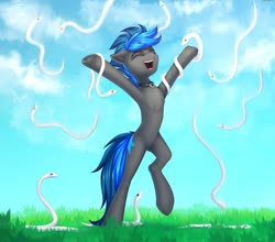 Size: 1225x1080 | Tagged: safe, artist:setharu, oc, oc only, oc:vibrant star, earth pony, pony, snake, armpits, collar, grass, happy, male, stallion