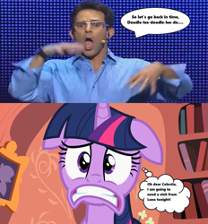 Size: 1227x1320 | Tagged: safe, edit, edited screencap, screencap, twilight sparkle, human, season 2, secret of my excess, book, cringing, e3, floppy ears, freaked out, frown, glasses, golden oaks library, mr caffeine, nightmare fuel, noise, speech bubble, text, thought bubble