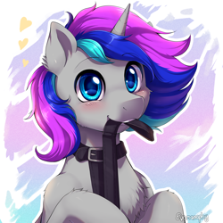 Size: 2000x2000 | Tagged: safe, artist:evomanaphy, oc, oc only, pony, unicorn, blushing, collar, floating heart, heart, leash, looking at you, solo