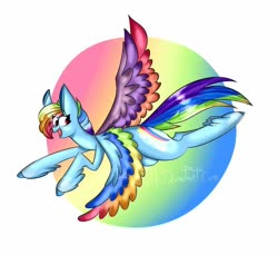Size: 800x732 | Tagged: safe, artist:tiah_biaah, rainbow dash, pegasus, pony, leak, spoiler:g5, colored wings, female, flying, g5, hooves, mare, multicolored wings, rainbow dash (g5), rainbow wings, wings