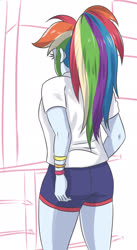 Size: 1232x2241 | Tagged: safe, artist:sumin6301, rainbow dash, human, equestria girls, away from viewer, butt, clothes, female, rainbutt dash, shorts, simple background, solo, white background