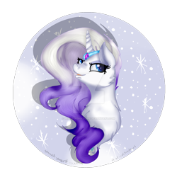 Size: 1920x1920 | Tagged: safe, artist:misfitofshadows, rarity, pony, leak, spoiler:g5, accessories, bust, female, g5, gradient mane, jewelry, mare, rarity (g5), redesign, tiara
