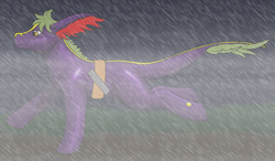 Size: 1032x601 | Tagged: safe, artist:chili19, oc, oc only, earth pony, pony, leonine tail, rain, running, solo