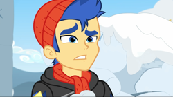 Size: 1280x720 | Tagged: safe, screencap, flash sentry, equestria girls, equestria girls series, holidays unwrapped, spoiler:eqg series, spoiler:eqg series (season 2), clothes, hat, male, scarf, winter outfit